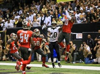 Tampa Bay Buccaneers free safety Bradley McDougald (30) intercepts a hail mary over New Orleans Saints wide receiver Brandin Cooks (10) to end the game at the Mercedes-Benz Superdome. The Buccaneers defeated the Saints 26-19.