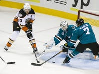 Anaheim Ducks right wing Corey Perry (10) tires to shoot against San Jose Sharks goalie Martin Jones (31) in the 2nd period at SAP Center at San Jose.