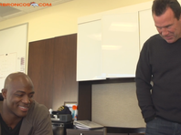 Coach Kubiak and DeMarcus Ware take a call from President Obama