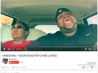 YouTube user White Rhino posted this viral clip of a time-lapse version of 7-hour road trip featuring him annoying his sister with his lip syncing.