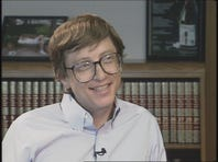"Evening Magazine's Penny LeGate talks with Bill Gates in 1991 after he was proclaimed by Forbes magazine as the ""second richest"" person in the country."