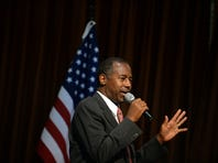 EXETER, NH - SEPTEMBER 30: Republican Presidential candidate Ben Carson speaks during a town hall event at River Woods September 30, 2015 in Exeter, New Hampshire. Carson has risen in the most recent polls to pull almost even with front runner Donald Trump. (Photo by Darren McCollester/Getty Images) *** Local Caption *** Ben Carson