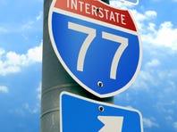 Interstate 77 Road Sign: Charlotte, Cleveland