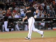 Oct 3, 2015; Phoenix, AZ, USA; Arizona Diamondbacks first baseman Paul Goldschmidt (44) crosses home plate after hitting a home run in the eighth inning against the Houston Astros at Chase Field.  The Astros won 6-2. Mandatory Credit: Joe Camporeale-USA TODAY Sports