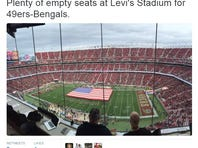 A tweet from USA TODAY's Lindsay H. Jones showing a half-empty Levi's Stadium just before the Bengals vs. 49ers, Dec. 20, 2015.