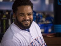 Texas Rangers designated hitter Prince Fielder (84) during the game