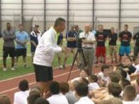 Urban Meyer talks at youth football camp at Spire Institute
