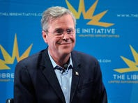 Republican presidential candidate Jeb Bush speaks during the LIBRE Initiative Fourm at the College of Southern Nevada on October 21, 2015 in North Las Vegas, Nevada. Bush said, if elected president he'd try to move the Interior Department's headquarters to the West, closer to the needs of the community.