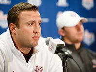 Dec 29, 2013; Atlanta, GA, USA; Texas A&M Aggies offensive coordinator Jake Spavital speaks at a news conference for the Chick-fil-A Bowl from the Sheraton Hotel. Texas A&M will face off against Duke in the 2013 Chick-fil-A Bowl on New Years Eve. Mandatory Credit: Paul Abell-USA TODAY Sports