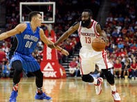 Photos: Harden leads Rockets over Magic in overtime, 119-114
