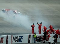 during the NASCAR Sprint Cup Series AAA 400 at Dover International Speedway on October 4, 2015 in Dover, Delaware.