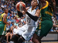MINNEAPOLIS, MN - SEPTEMBER 8: Maya Moore #23 of the Minnesota Lynx drives to the basket against the Seattle Storm on September 8, 2015 at Target Center in Minneapolis, Minnesota.