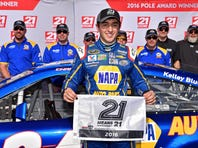NASCAR Sprint Cup Series driver Chase Elliott (24) celebrates winning the pole during qualifying for the Daytona 500 at Daytona International Speedway.