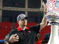 Dec 31, 2015; Atlanta, GA, USA; Houston Cougars head coach Tom Herman talks after a game against the Florida State Seminoles in the 2015 Chick-fil-A Peach Bowl at the Georgia Dome. Houston defeated Florida State 38-24. Mandatory Credit: Brett Davis-USA TODAY Sports