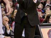South Carolina Gamecocks head coach Frank Martin directs his team against the LSU Tigers in the first half at Colonial Life Arena.