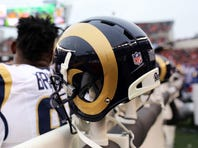 Nov 29, 2015; Cincinnati, OH, USA; A general view of a St. Louis Rams helmet on the sidelines at Paul Brown Stadium. The Bengals won 31-7. Mandatory Credit: Aaron Doster-USA TODAY Sports