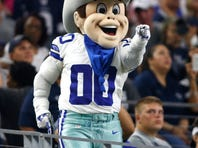 Dallas Cowboys mascot Rowdy in the stands
