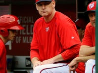 Sep 26, 2015; Washington, DC, USA; Washington Nationals manager Matt Williams (9) in the dugout against the Philadelphia Phillies during the first inning at Nationals Park. Mandatory Credit: Brad Mills-USA TODAY Sports