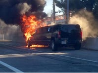The California Highway Patrol says all passengers managed to escape from a limousine on fire during rush hour traffic on Interstate 880 in San Jose.