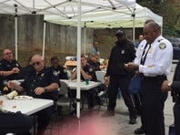 Police officers from Zone 1 at the APD appreciation event on Oct. 29, 2015.