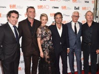 """TORONTO, ON - SEPTEMBER 14: (L-R) Actors Brian d'Arcy James, Liev Schreiber, Rachel McAdams, Mark Ruffalo, John Slattery and Michael Keaton attend the """"Spotlight"""" premiere during the 2015 Toronto International Film Festival at the Princess of Wales Theatre on September 14, 2015 in Toronto, Canada.  (Photo by Alberto E. Rodriguez/Getty Images)"""