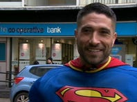 """A British """"Superman"""" saved the day after foiling an attempted cash machine robbery on Wednesday in Gloucester, South West England. (ABC NEWS)"""