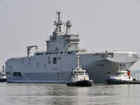The Mistral warship Sevastopol is shown on its way to its first sea trials on March 16.