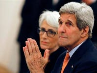 U.S. Secretary of State John Kerry, front, and U.S. Under Secretary for Political Affairs Wendy Sherman meet with foreign ministers of Germany, France, China, Britain, Russia and the European Union at a hotel in Vienna, Austria, Tuesday, July 7, 2015. Iran nuclear talks were in danger of busting through their second deadline in a week Tuesday, raising questions about the ability of world powers to cut off all Iranian pathways to a bomb through diplomacy, and testing the resolve of U.S. negotiators to walk away from the negotiation as they've threatened.