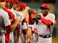 Oct 1, 2013; Pittsburgh, PA, USA; Cincinnati Reds manager Dusty Baker (12) is introduced before National League wild card playoff baseball game against the Pittsburgh Pirates at PNC Park. Mandatory Credit: Charles LeClaire-USA TODAY Sports