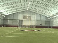 Inside the USC indoor practice facility.