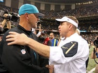 Dec 27, 2015; New Orleans, LA, USA; Jacksonville Jaguars head coach Gus Bradley and New Orleans Saints head coach Sean Payton talk after their game at the Mercedes-Benz Superdome. The Saints won, 38-27. Mandatory Credit: Chuck Cook-USA TODAY Sports