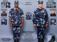 """Humble beginnings: Early prototypes of the Navy Working Uniform included both digital camo patterns and a blue """"woodland pattern,"""" shown in this 2004 illustration."""
