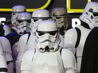 "Stormtroopers arrive for the European Premiere of ""Star Wars: The Force Awakens"""
