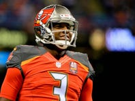 Tampa Bay Buccaneers quarterback Jameis Winston (3) looks on prior to the game against the New Orleans Saints at the Mercedes-Benz Superdome.