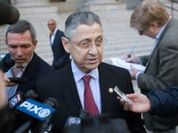 "NEW YORK, NY - APRIL 28:  Former New York State Assembly Speaker Sheldon Silver gives a statement as he leaves Federal Court after he entered a plea to the latest version of a criminal indictment in Manhattan, April 28, 2015 in New York City. The indictment against Silver alleges he exploited his power in Albany to collect $4 million in kickbacks. Prosecutors boosted charges against Silver, saying he did ""certain official"" favors for an investor who gave him access to high-yield investment opportunities.  (Photo by Kevin Hagen/Getty Images)"