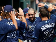 Rays designated hitter Evan Longoria (3) receives congratulations from teammates after he hit a two run home run against the Detroit Tigers at Comerica Park.