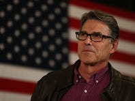 WEST DES MOINES, IA - JANUARY 27: Former Texas Governor Rick Perry talks about how he supports Republican presidential candidate Sen. Ted Cruz (R-TX) before he took to the stage during his campaign event at the Noah's Event Venue on January 27, 2016 in West Des Moines, Iowa. Cruz continues his quest to become the Republican presidential nominee. (Photo by Joe Raedle/Getty Images)