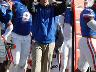 Florida Gators special teams coordinator Coleman Hutzler calls a play against the Georgia Bulldogs during the first half at EverBank Field during the 2014 season.