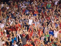 Jul 2, 2015; Philadelphia, PA, USA; Fans do the wave during a game between the Philadelphia Phillies and the Milwaukee Brewers at Citizens Bank Park. The Brewers won 8-7.