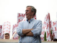 AMHERST, NH - JULY 4: Republican Presidential candidate Jeb Bush participated in 4th of July Parade on July 4, 2015 in Amherst, New Hampshire. Bush is a front-runner in the polls for the 2016 presidential race with 14 other republican candidates. (Photo by Kayana Szymczak/Getty Images)