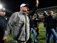 Nov 21, 2015; Oxford, MS, USA; LSU Tigers head coach Les Miles walks onto the field after the game against the Mississippi Rebels  at Vaught-Hemingway Stadium. Mississippi won 38-17.  Mandatory Credit: Matt Bush-USA TODAY Sports