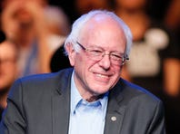 In this Wednesday, Oct. 14, 2015 file photo, Democratic presidential candidate Sen. Bernie Sanders, of Vermont, smiles while speaking during a fundraiser at the Avalon Hollywood, in Los Angeles. Presidential hopeful Bernie Sanders will be a guest on Jimmy Kimmelís late-night show, airing this week from Brooklyn, N.Y.  Sanders will appear on ABCís ìJimmy Kimmel Live!î on Wednesday, Oct. 21, 2015.  (AP Photo/Danny Moloshok, File) ORG XMIT: CAET638