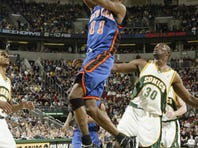 Los Angeles Clippers guard Jamal Crawford moves to the basket against Oklahoma City Thunder forward Kevin Durant.