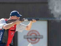 Sgt. 1st Class Glenn Eller, U.S. Army Marksmanship Unit and 2008 Olympic gold medalist, fires his shotgun during the 2015 International Shooting Sport Federation World Cup in Gabala, Azerbaijan.