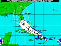 The projected path of Tropical Storm Erika.