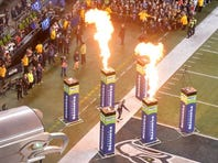 Nov 15, 2015; Seattle, WA, USA; Seattle Seahawks wide receiver Jermaine Kearse (15) enters the field through a procession of flames during a NFL football game against the Arizona Cardinals at CenturyLink Field.