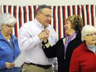 Gov. Paul Lepage greets First Lady Ann LePage after preparing his ballot Tuesday November 4, 2014 at their polling place in Augusta.  (Kennebec Journal photo by Andy Molloy/Staff Photographer)
