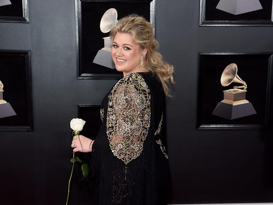 Kelly Clarkson attends the 60th annual Grammy Awards
