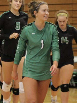 Geneseo libero Maggie Weller (1) leads her team during a side switch in the championship match of the 2019 Geneseo Invitaitonal.