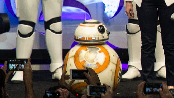 The BB-8 droid looks like a mechanical head on a spinning ball.